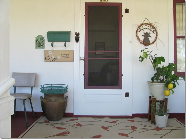 front door with lemon tree