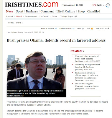 screencapture of Irish Times website featuring photo of Brian Cowen with the caption as typed below