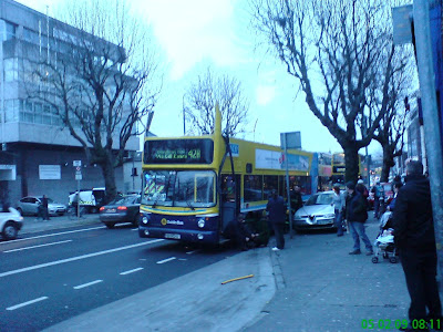 Phot taken at 08:11 shows the front of the bus, pre-poice or emergency services arriving