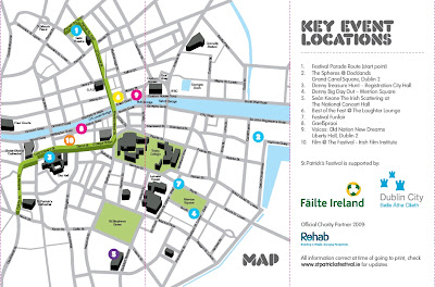 map of where things are happening in Dublin from St Patrick's Festival programme