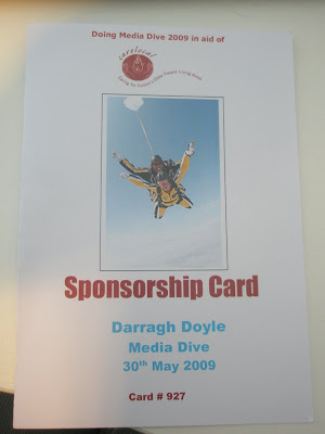 Image shows a sponsorship card with my name on the front of it