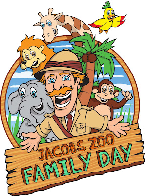 Cartoon image showing safari explorer with elephant, lion, giraffe, monkey and bird in the background