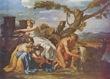 Poussin, Júpiter amamantado por la cabra Amaltea