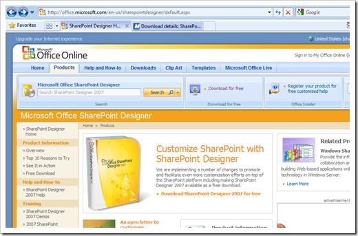 Microsoft Sharepoint Designer 2007 Free