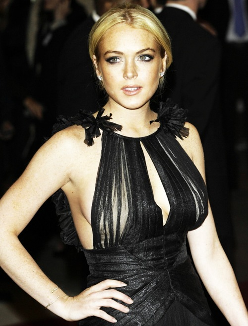Lindsay Lohan with semi nude dress Lindsay Lohan