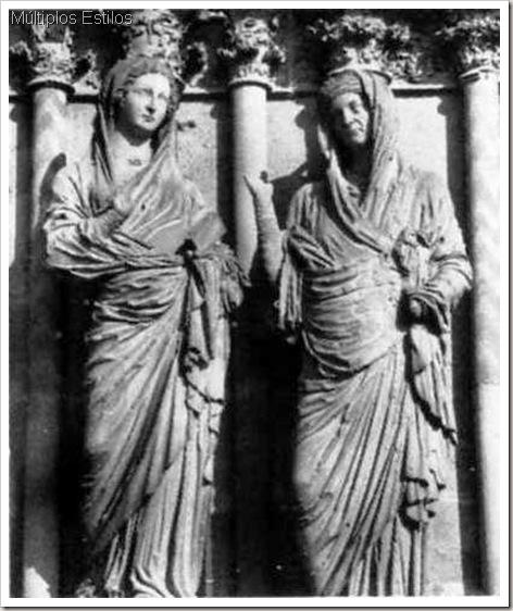 A Visitação, estátuas de jamba da fachada oeste da Catedral de Reims. C.1225-90, França.