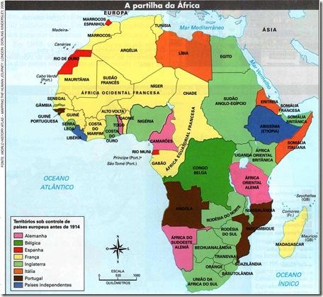 mapa da Partilha da África na Conferência de Berlim