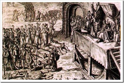 Gravura, portugueses diante do soberano africano