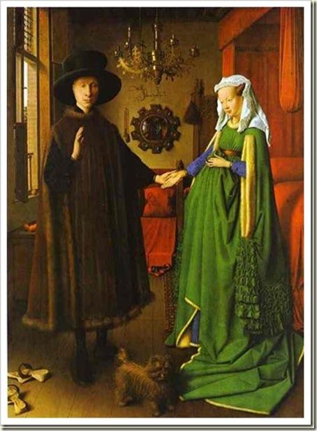 O Casal Arnolfini, de Jan Van Eyck, 1434. NG Londres.