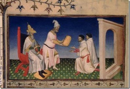 pintura do início do século XV, representa o imperador momgol Kublai Khan,, presenteando o mercador e viajante Marco Polo