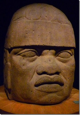 Olmec monumental head.