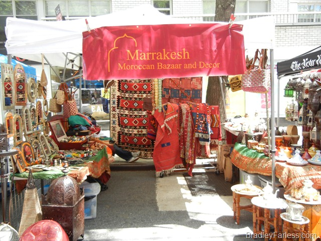 Marrakesh: Moroccan Bazaar and Decor booth at a street fair on Broadway.