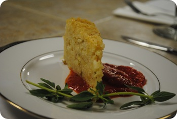 Lemon Herb Risotto Cake with Roasted Red Pepper Sauce