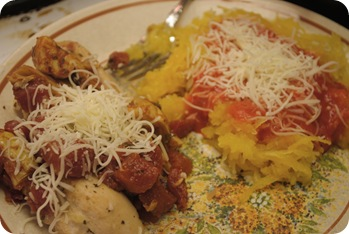 Chicken with artichokes and tomatoes, spaghetti squash with red pepper sauce