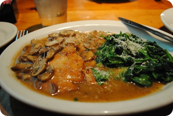 Chicken marsala and spinach