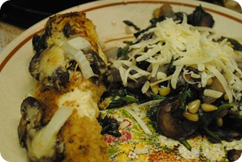 Happy chicken and sauteed spinach