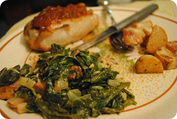 Pork chop, turnip greens, turnips