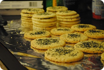 Coconut lime cookies with smoke monster sprinkles