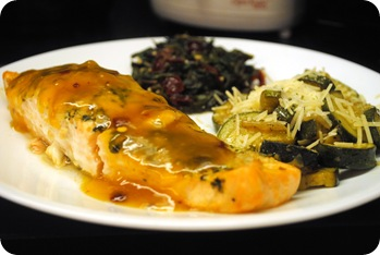 salmon and citrus chard