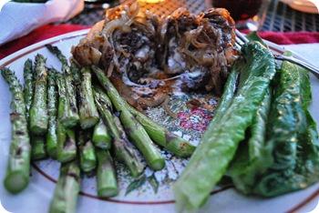 Asparagus, bleu cheese-stuffed burgers, caramelized onions, balsamic vinegar, romaine lettuce
