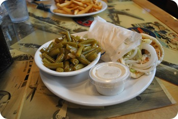 Greek wrap and green beans