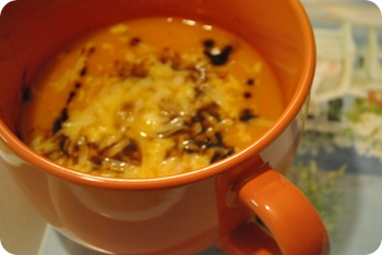 butternut squash soup with parmesan cheese and balsamic vinegar