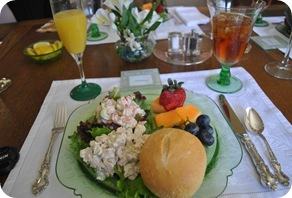 bridal luncheon - chicken salad, shrimp salad, fruit, mimosas, tea