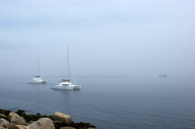Barcos num dia de nevoeiro na Galiza