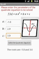 Screenshot of Quadratic Equation Solve/Graph