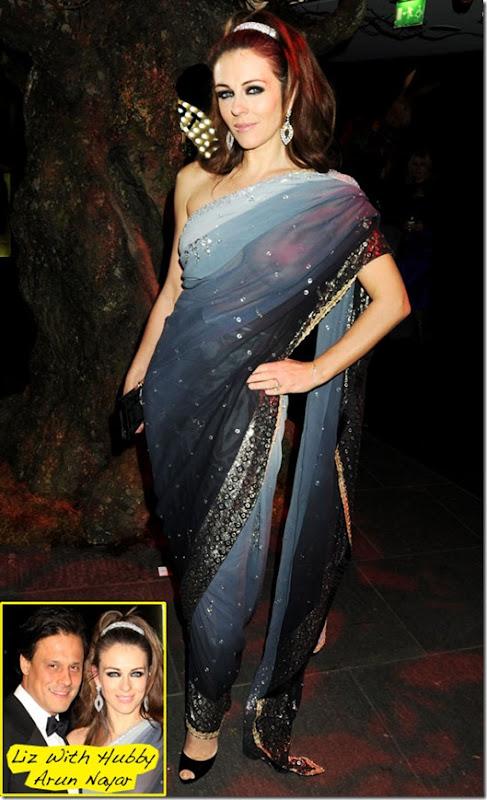 Elizabeth Hurley blouse-less see through saree  (4)