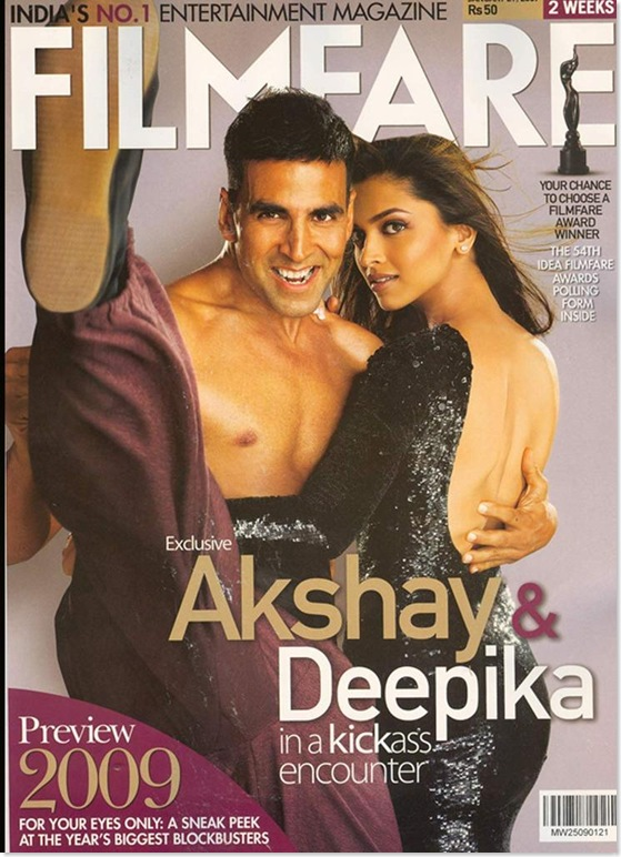 Deepika Padukone Looking Extremely Sexy along with Akshay Kumar on the Cover of Filmfare Magazine...