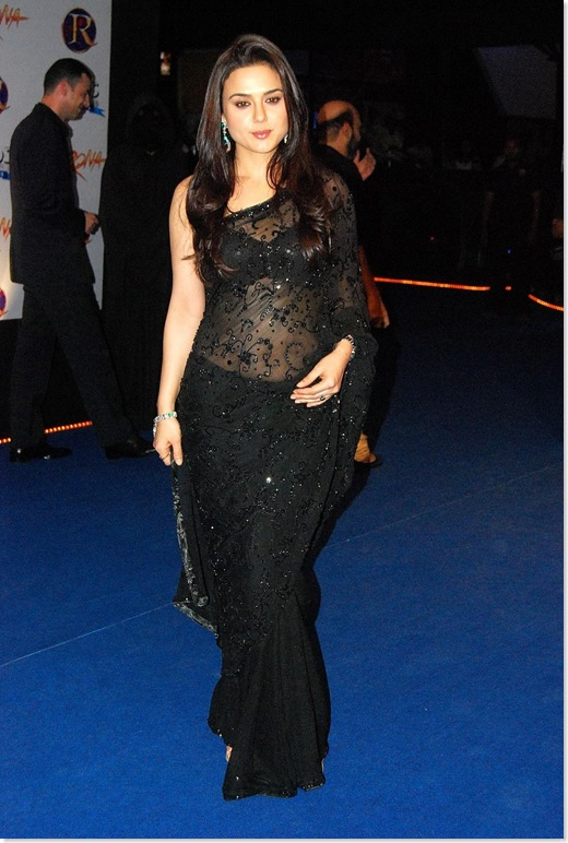 Preity Zinta Looking Super Hot in a Sexy Black See Through/Transparent Saree...