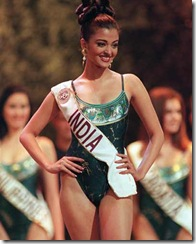 Aishwarya Rai of India competes in the swimsuit parade during the finals for Miss World 1994 in Sun City, November 20, 1994