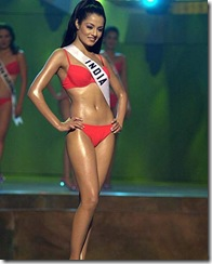 Celina Jaitly her Bluepoint Swim swimsuit during the Miss Universe 2001
