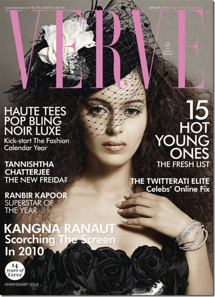 Kangana Ranaut is on the cover of January 2010 issue of VERVE Magazine…