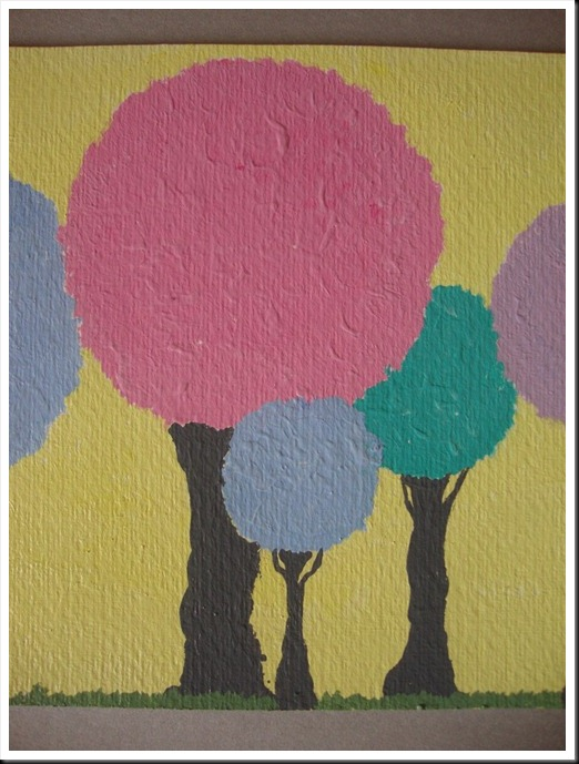 pastel trees close