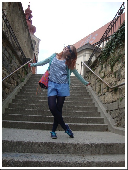 DIY bag; vintage top and pants; H&M tights and cardigan; Graceland shoes (4)