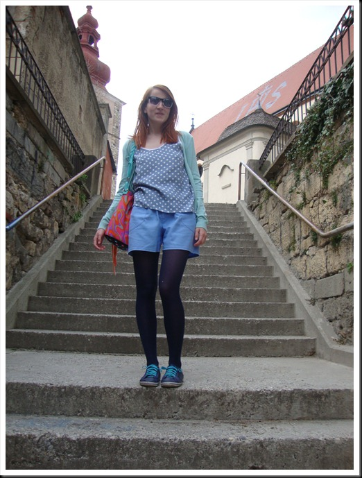 DIY bag; vintage top and pants; H&M tights and cardigan; Graceland shoes (3)
