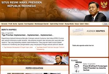 Tampilan Beranda Situs Resmi Wakil Presiden Republik Indonesia