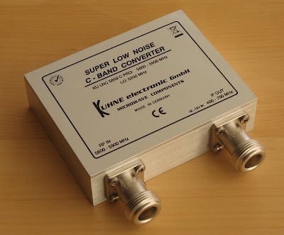 Close-up the KU LNC 5659 C PRO low noise downconverter (LNC) from Kuhne Electronic.