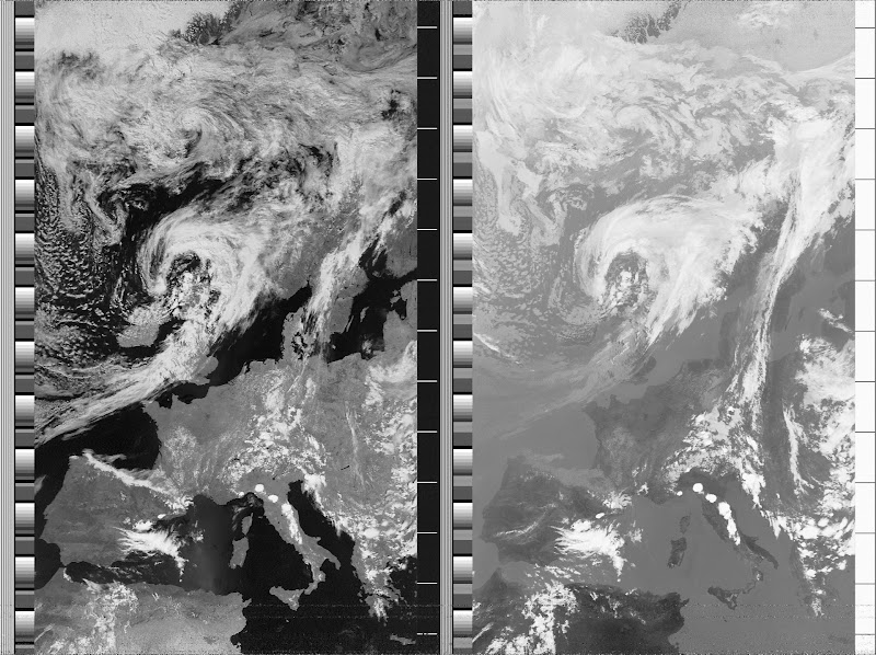 NOAA 19 northbound 59W at 04 Jul 2010 12:22:24 GMT on 137.10MHz, contrast enhancement, Normal projection, Channel A: 2 (near infrared), Channel B: 4 (thermal infrared) edit Delete caption