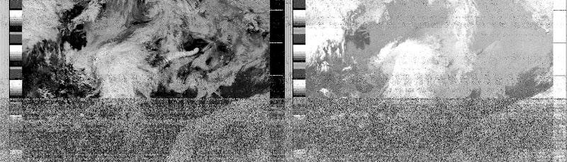 NOAA 18 northbound  5E at 10 Jul 2010 08:23:05 GMT on 137.9125MHz, contrast enhancement, Normal projection, Channel A: 1 (visible), Channel B: 4 (thermal infrared).