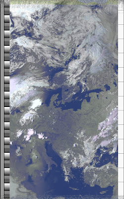 NOAA 15 northbound 66E at 10 Jul 2010 14:31:11 GMT on 137.50MHz, HVCT enhancement, Normal projection, Channel A: 2 (near infrared), Channel B: 4 (thermal infrared)