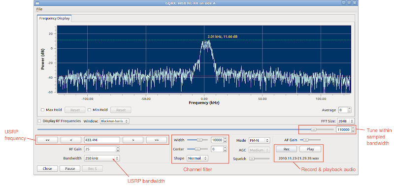 Screenshot of the gqrx software defined radio receiver with a quick user guide.