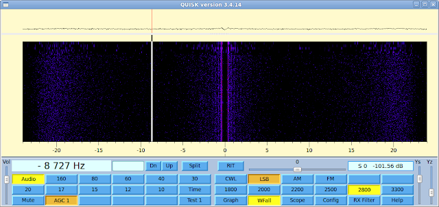 Combined waterfall and FFT scope in Quisk SDR