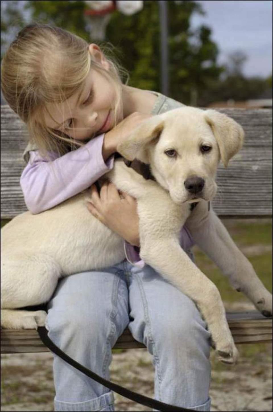 Cute girl and her cute dog