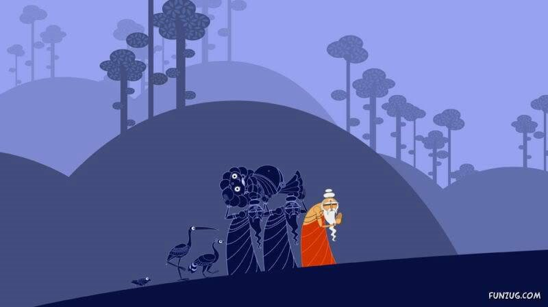 Ramayana Cute Cartoon Images- Creative Art Work by Nina Paley