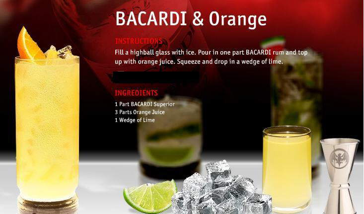 Make your drink: Bacardi Mojito Cocktail, Bacardi & Cranberry, Bacardi & Orange, Bacardi Pomegranate Mojito