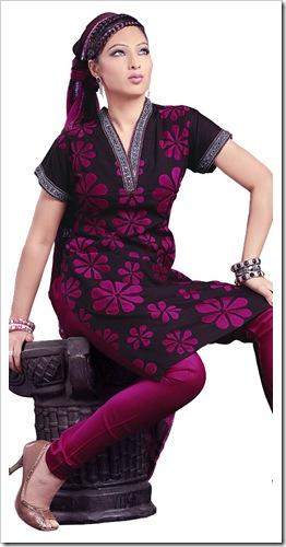 Bright churidaar with stylish neckline