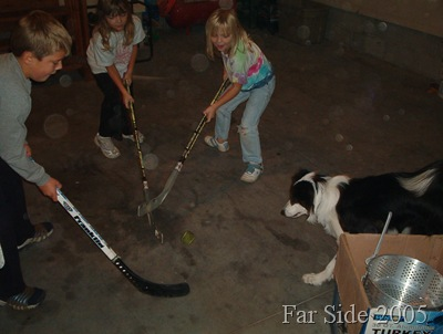Chance playing hockey 2005 with Madison and Paige and next door neighbor boy